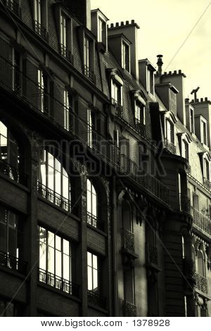 Black And White French Building - Sun Rising