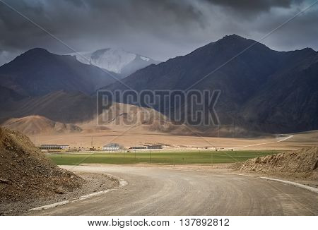 Road leading to the chinese city Rutok located in the Aksai Chin region - one of the two main disputed border areas between China and India
