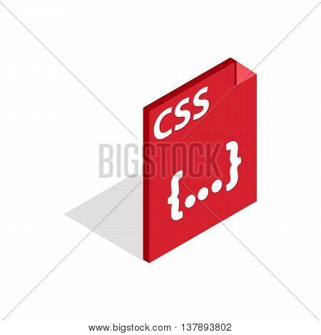 CSS file extension icon in isometric 3d style isolated on white background