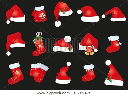 Vector illustration of collection of red caps, socks and  gloves