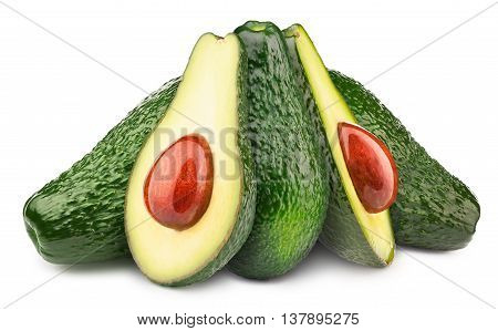 Group of five avocados with oily stone isolated on white, with clipping path