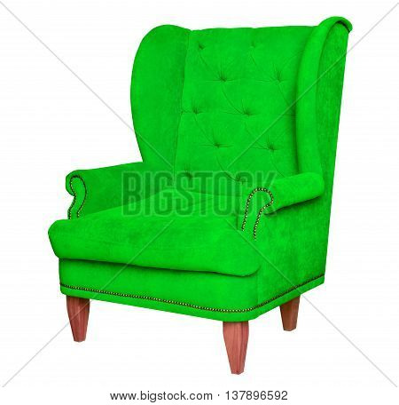 Light green textile chair. Furniture chair isolated on white background