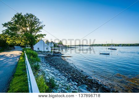 River Road And The Piscataqua River, In New Castle, Portsmouth, New Hampshire.