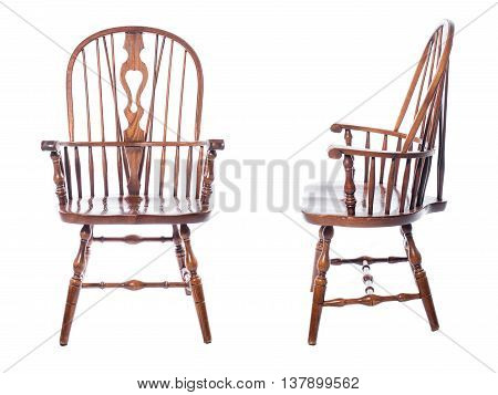 Wooden vintage chair isolatd on white background. Collage photo of brown wooden chair with handels isolated.