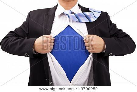 Businessman with courage and superman concept.Isolated with white background.