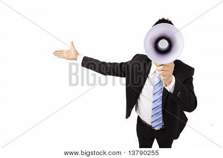 Businessman holding megaphone make loud noise