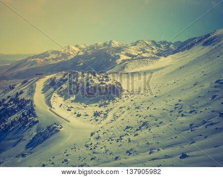 Snow landscape on Mammoth Mountain in California, US  ( Filtered image processed vintage effect. )