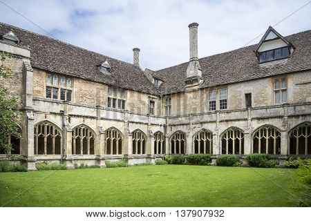 LACOCK ABBEY, LACOCK, WILTSHIRE, UK, JUNE 2016 - Internal courtyard of the cloisters at Lacock Abbey Lacock Wiltshire UK