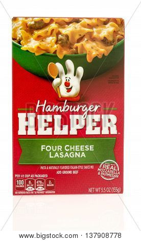 Winneconnie WI - 10 July 2016: Box of Hamburger Helper in four cheese lasagna flavor on an isolated background.