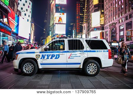 NEW YORK CITY MAY 12: NYPD SUV police squad car on Time Square street in New York City United States on May 12 2016
