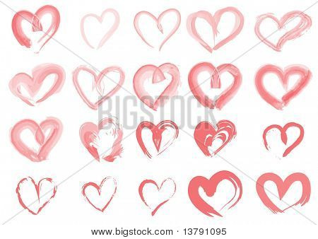 Vector illustration of collection of pink hearts