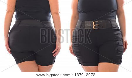 Front and back photo of XXL woman black short pants with black belt on plus size model isolated on white