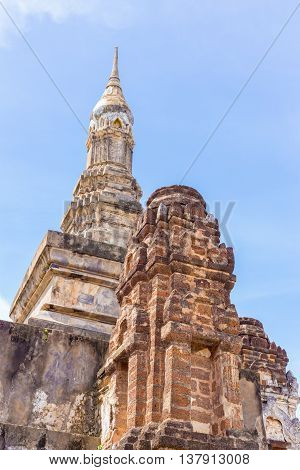 pagoda Sukhothai's style name's Phum-kaw-bin in Sukhothai historical park Thailand