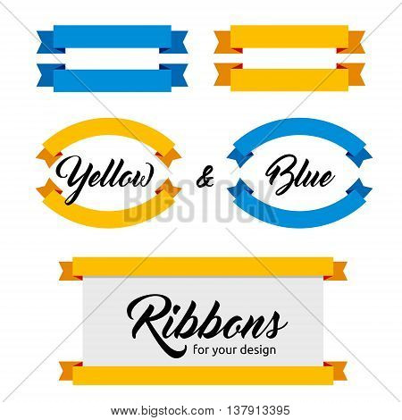 Design elements - Set of flat ribbons and banners. Different shapes. Vector illustration. Flat style. Ribbons isolated on white. Blue and yellow web banners.