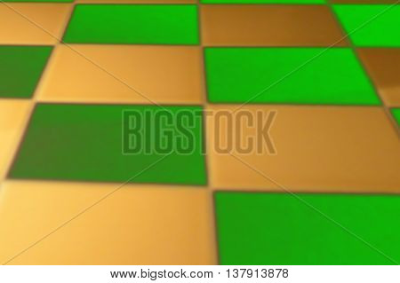 Abstract colorful background of green and golden squares