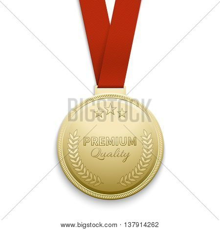 Premium quality gold medal vector illustration. Medal of premium quality and golden medal emblem
