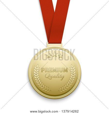 Premium quality gold medal vector illustration. Medal of premium quality and golden medal emblem