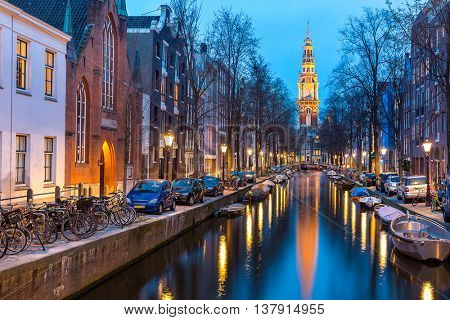 South Church Zuiderkerk and Amsterdam Canals at dusk Netherlands