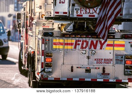 NEW YORK CITY - OCT 20, 2015: FDNY Fire department Ladder truck going for resque call