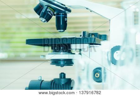 Close Up The Microscope With Test Sample Making Research In Laboratory Chemical Formula For Science