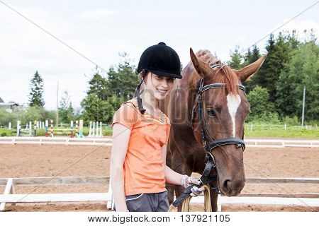 Girl And Horse On A Summer Day