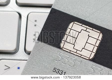 A closeup of credit card chip / Measure to deal with counterfeit card fraud