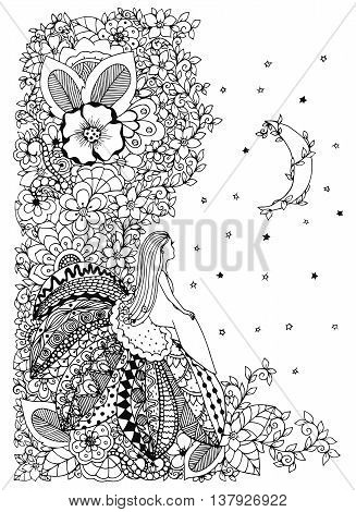 Vector illustration Zen Tangle, little girl sitting on a flower and looking at the stars. Doodle drawing. Coloring anti stress for adults. Black and white.