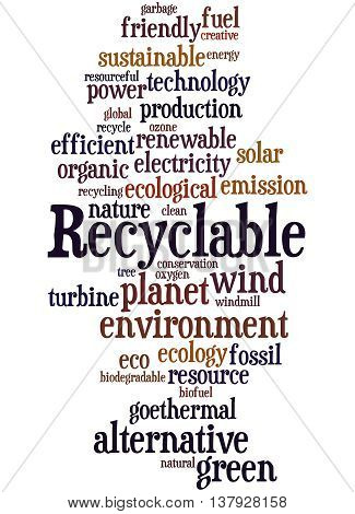Recyclable, Word Cloud Concept 4