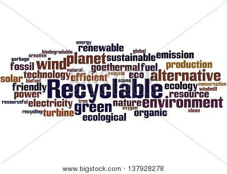 Recyclable, Word Cloud Concept 8