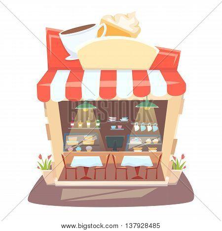 Cafe shop interior. Street local cafeteria building. European bar inside table, chair and showcases.Cafe interior cartoon vector illustration.