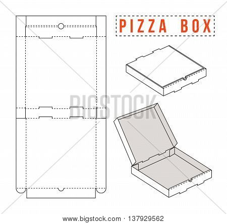 Stock vector box for pizza. Unwrapped and 3d image