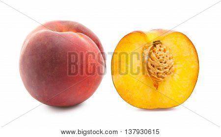 Peaches. Ripe fresh peaches isolated on white background. Peach in a cut