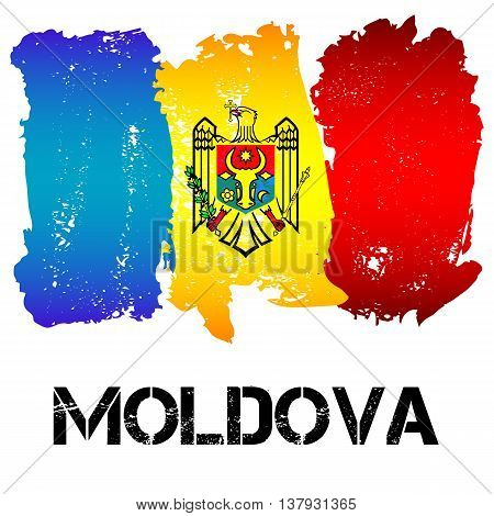 Flag of Moldova from brush strokes isolated on white background. CIS country. Vector illustration