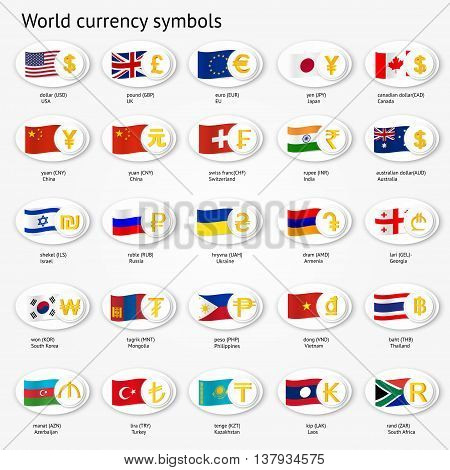 World currency symbols icon set. Money sign icons with national flags. Vector illustration.
