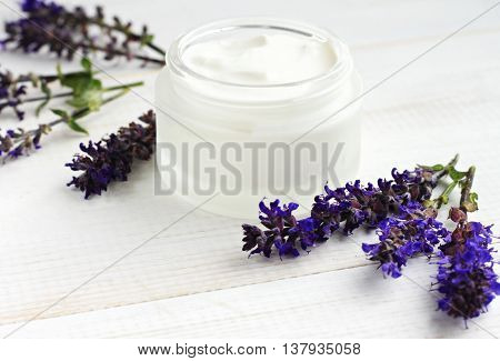 Soothing skincare cosmetic emollient white jar, Salvia flowering herb twigs.