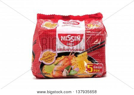 Bangkok, Thailand - July 10, 2016: Illustrative Editorial Of Nissin Brand Top Ramen Noodle Soup. 6 P