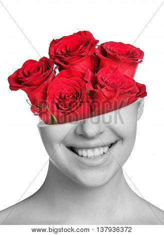 Boquet of roses in beautiful woman's half head isolated on white