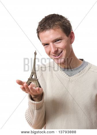 man showing Eiffel tower