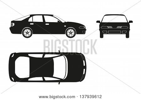 Car silhouette on a white background . Three views : front side top. Vector illustration