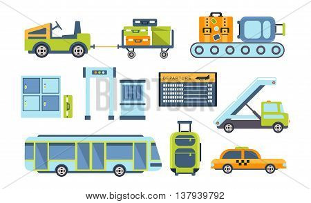 Airport Related Objects Collection Of Simplified Flat Cartoon Style Vector Stickers Isolated On White Background