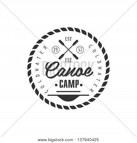 Canoe Camp Emblem Classic Style Vector Logo With Calligraphic Text On White Background