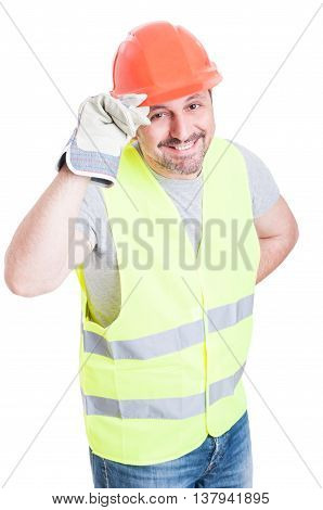 Attractive Builder Man Holding Helmet Acting Polite