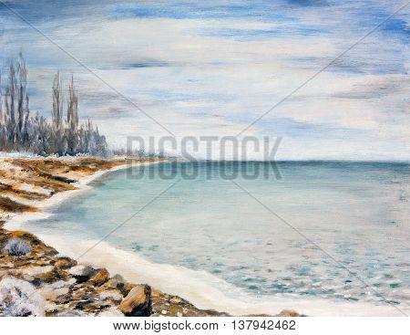 Облачный зимний день. Море покрытое льдом.