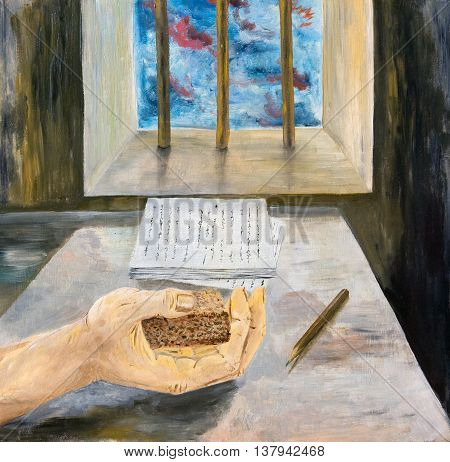 Hand dissenting writer with a piece of bread. Oil painting