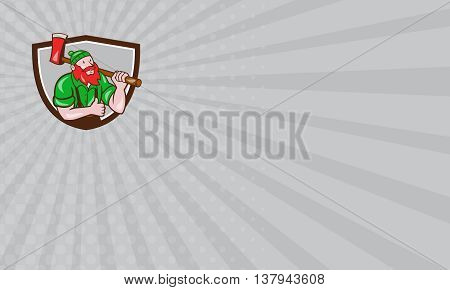 Business card showing illustration of a Paul Bunyan an American lumberjack sawyer forest carrying axe on shoulder thumbs up set inside shield crest on isolated background done in cartoon style.