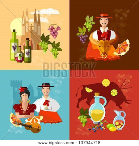 Spain set tradition and culture spanish matador corrida flamenco vector illustration