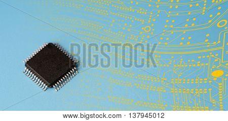 quantum computer IC.   prototype / concept chip. copy space