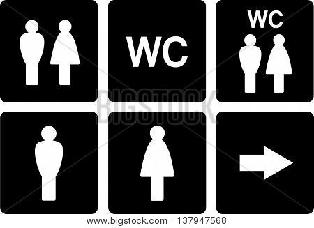 black set of WC signs with man and woman silhouette