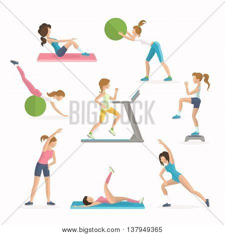 Aerobics fitness exercises. Dropping excess fat. Women work out in the fitness club vector illustration