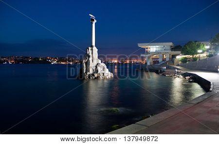 CRIMEA, SEVASTOPOL, JUNE 13, 2014:Monument to the scuttled ships in the night. Sevastopol, Crimea